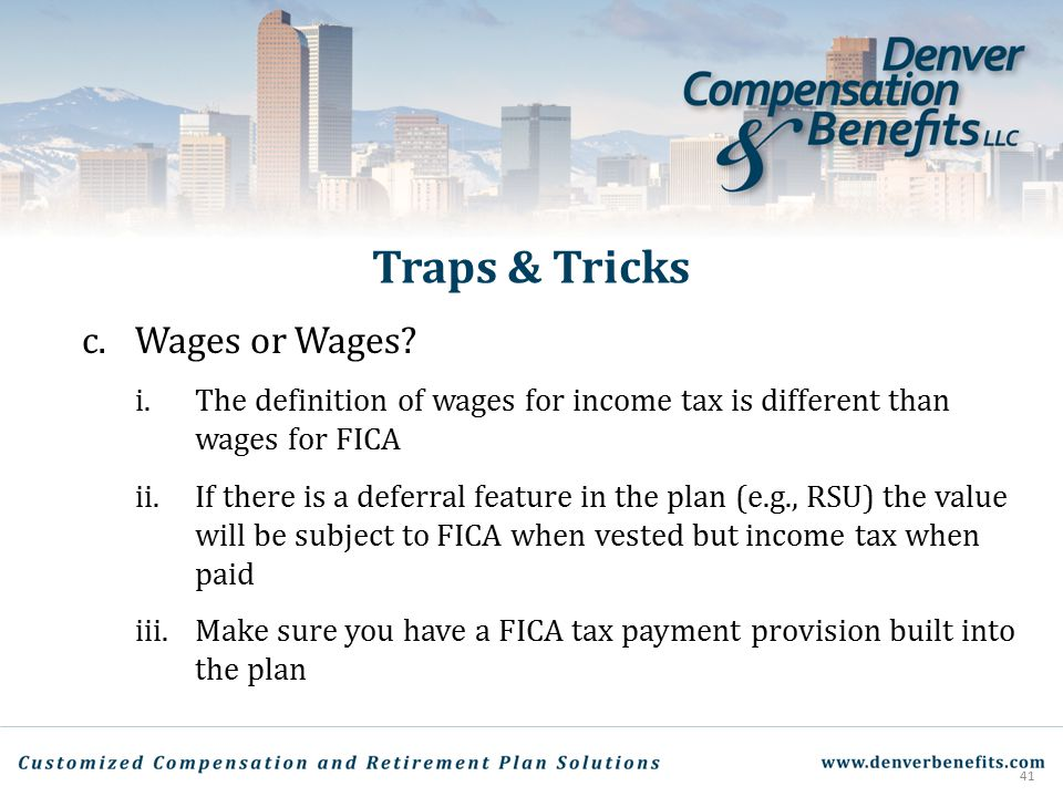 Traps & Tricks c. Wages or Wages