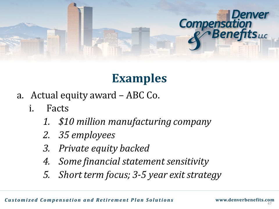 Examples Actual equity award – ABC Co. Facts