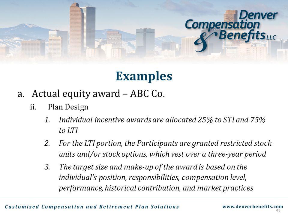 Examples Actual equity award – ABC Co. Plan Design