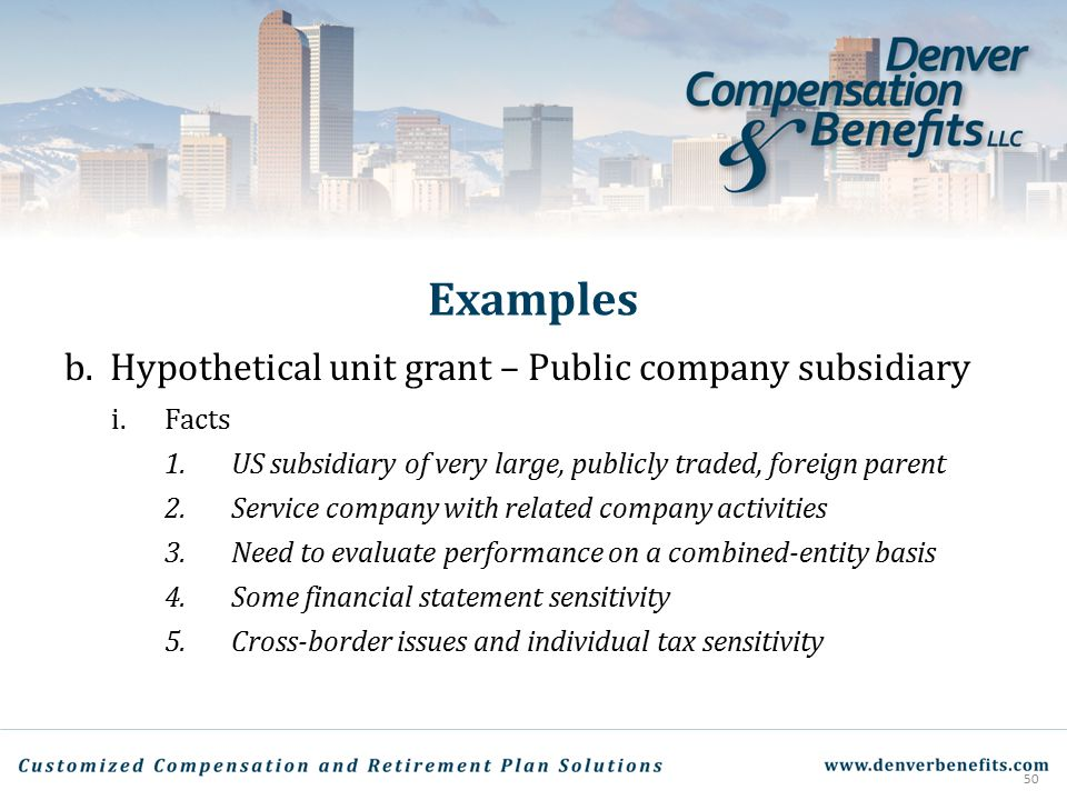 Examples Hypothetical unit grant – Public company subsidiary Facts