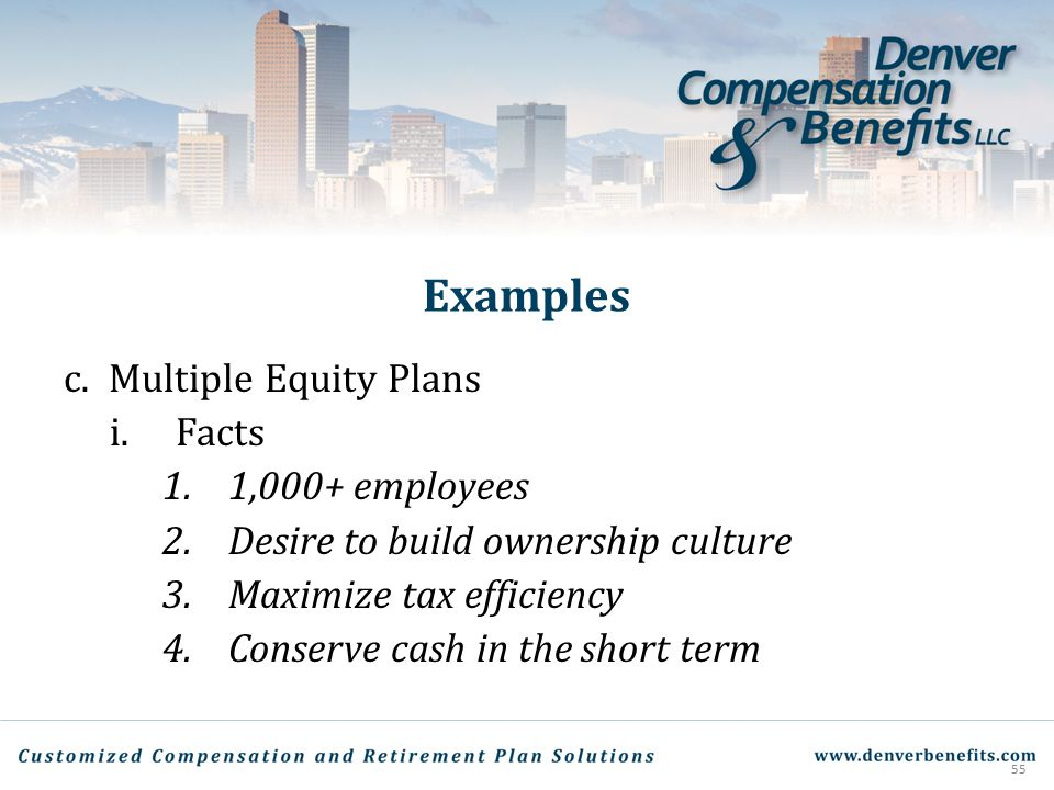 Examples Multiple Equity Plans Facts 1,000+ employees