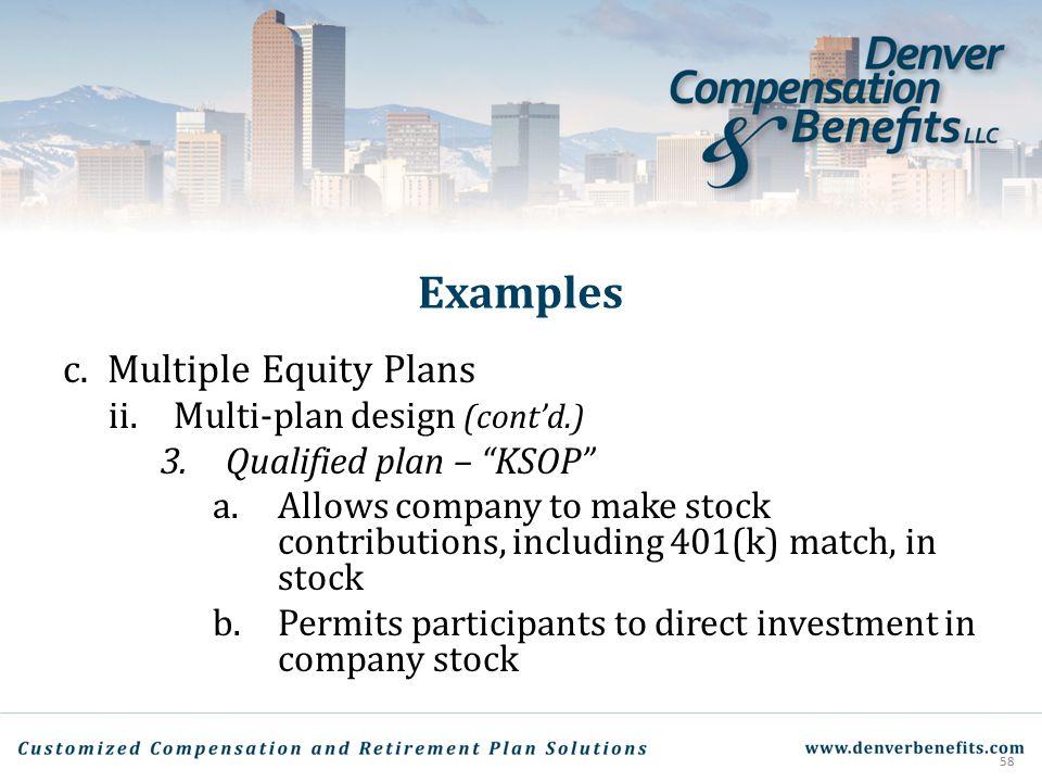 Examples Multiple Equity Plans Multi-plan design (cont'd.)