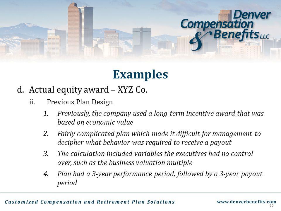Examples Actual equity award – XYZ Co. Previous Plan Design