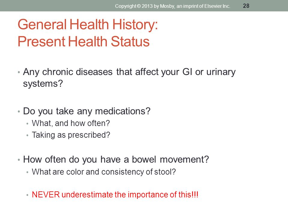 General Health History: Present Health Status