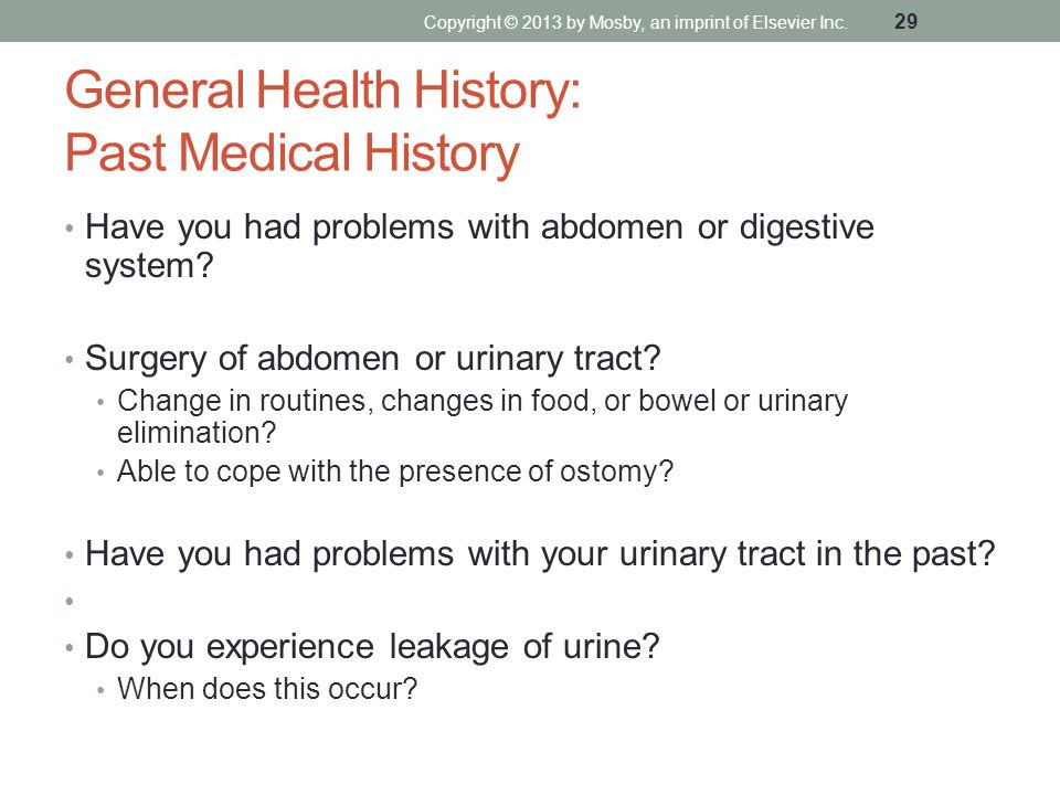 General Health History: Past Medical History