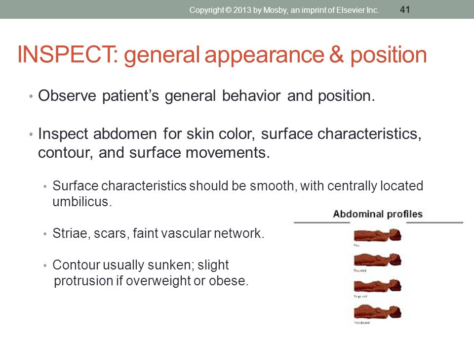 INSPECT: general appearance & position