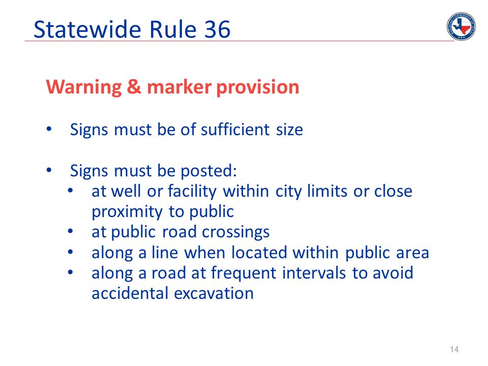 Statewide Rule 36 Warning & marker provision