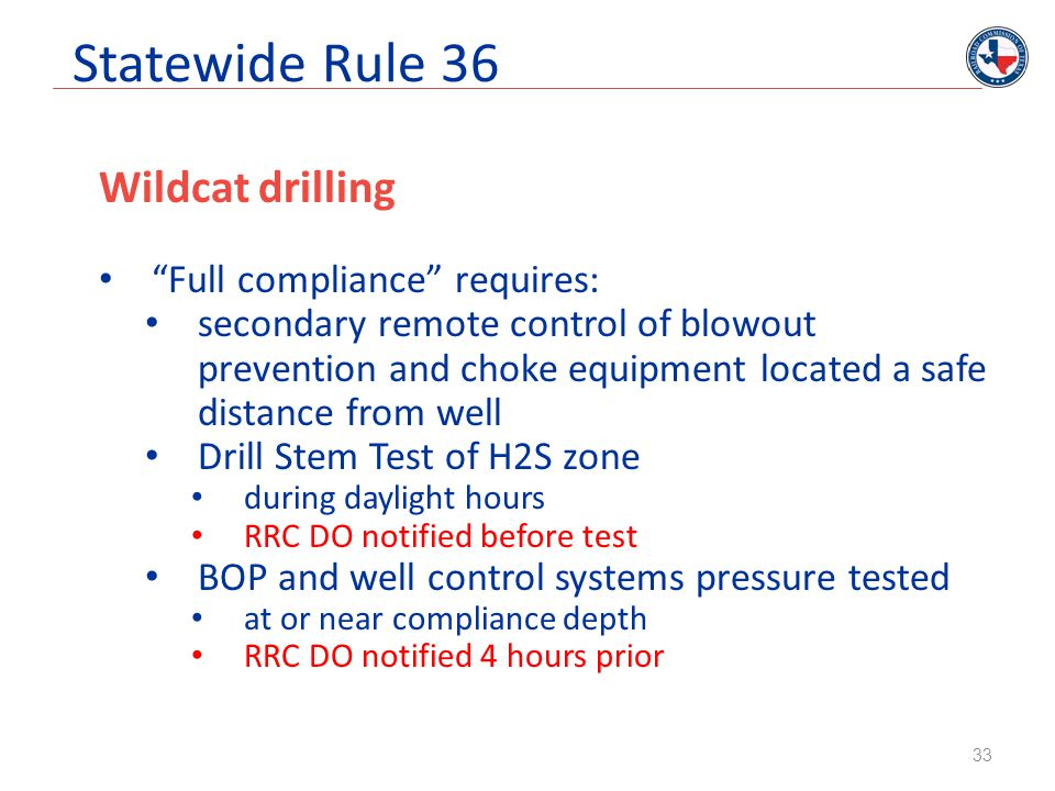 Statewide Rule 36 Wildcat drilling Full compliance requires: