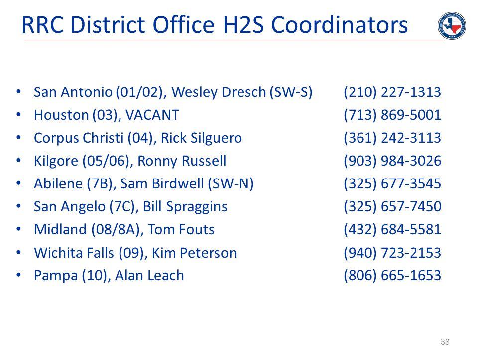 RRC District Office H2S Coordinators