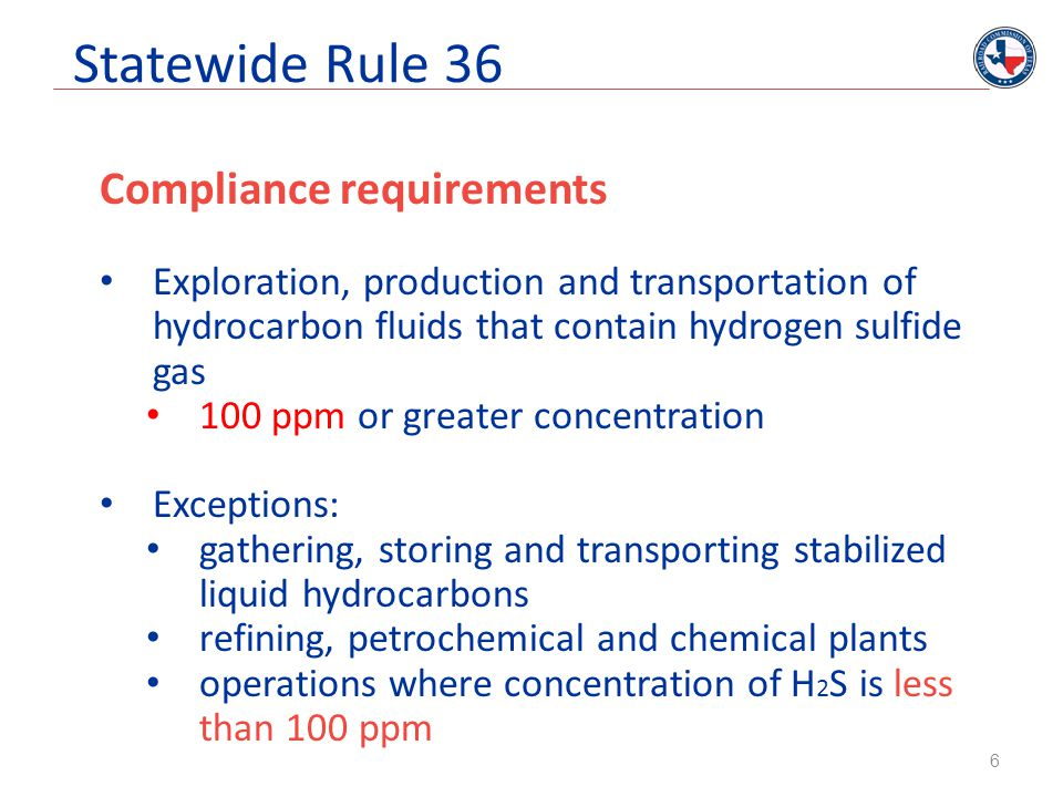 Statewide Rule 36 Compliance requirements