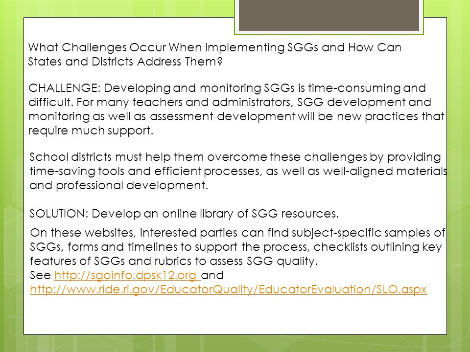 What Challenges Occur When Implementing SGGs and How Can States and Districts Address Them