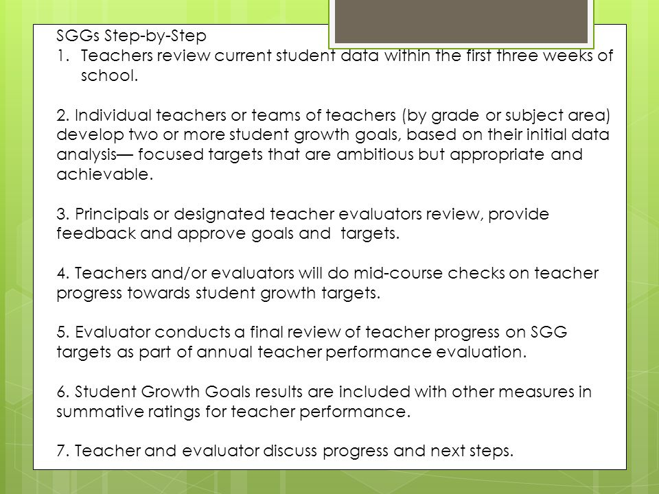 SGGs Step-by-Step Teachers review current student data within the first three weeks of school.