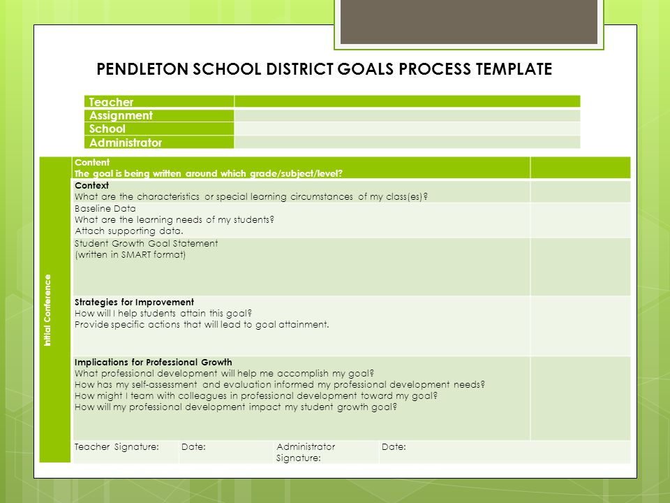 PENDLETON SCHOOL DISTRICT GOALS PROCESS TEMPLATE
