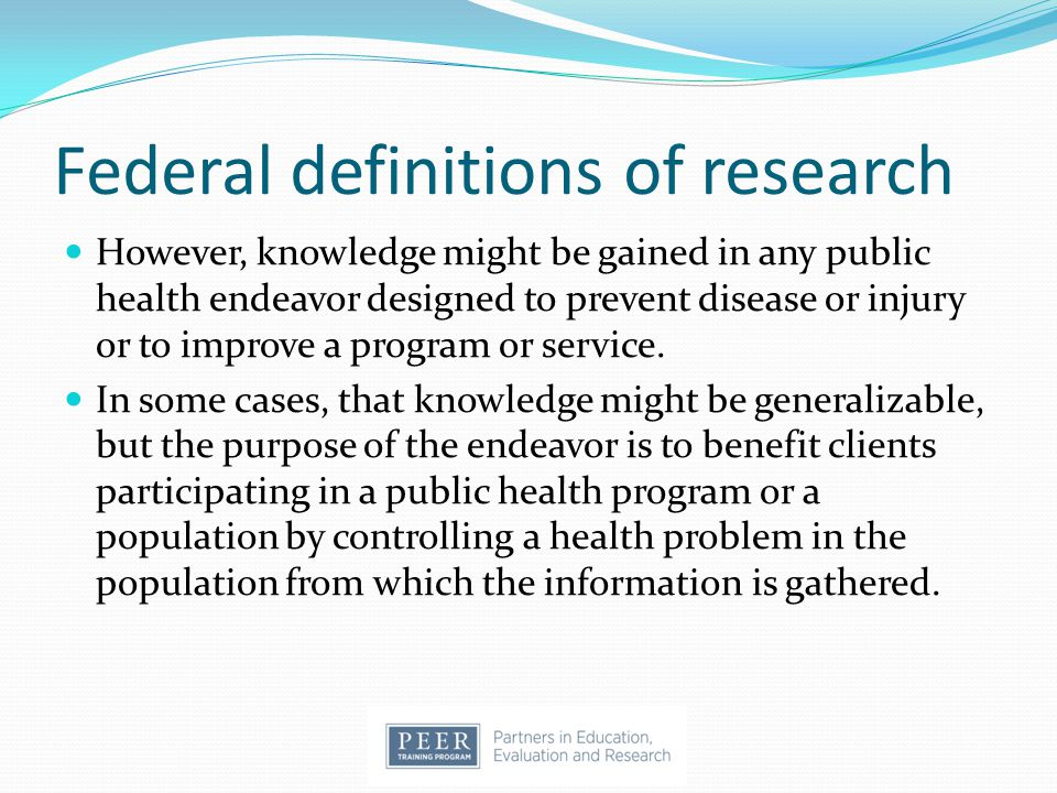 Federal definitions of research