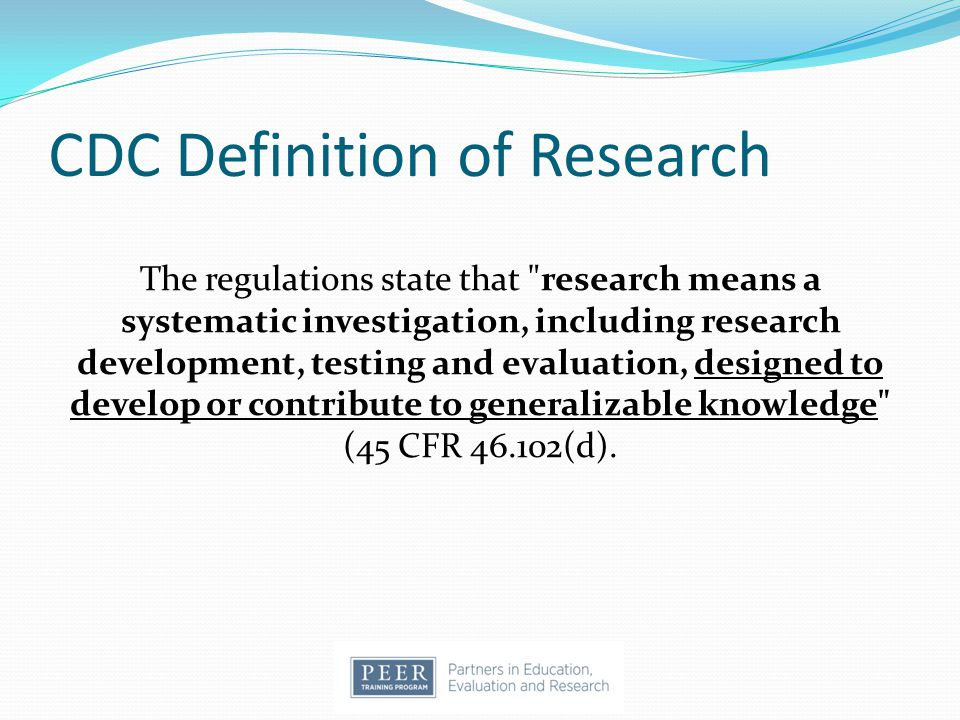 CDC Definition of Research