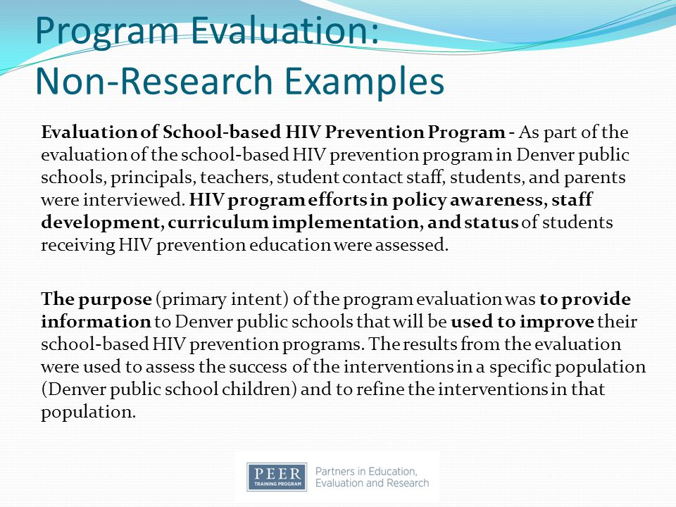 Program Evaluation: Non-Research Examples