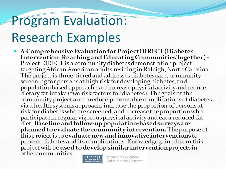 Program Evaluation: Research Examples