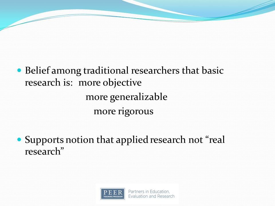 Supports notion that applied research not real research