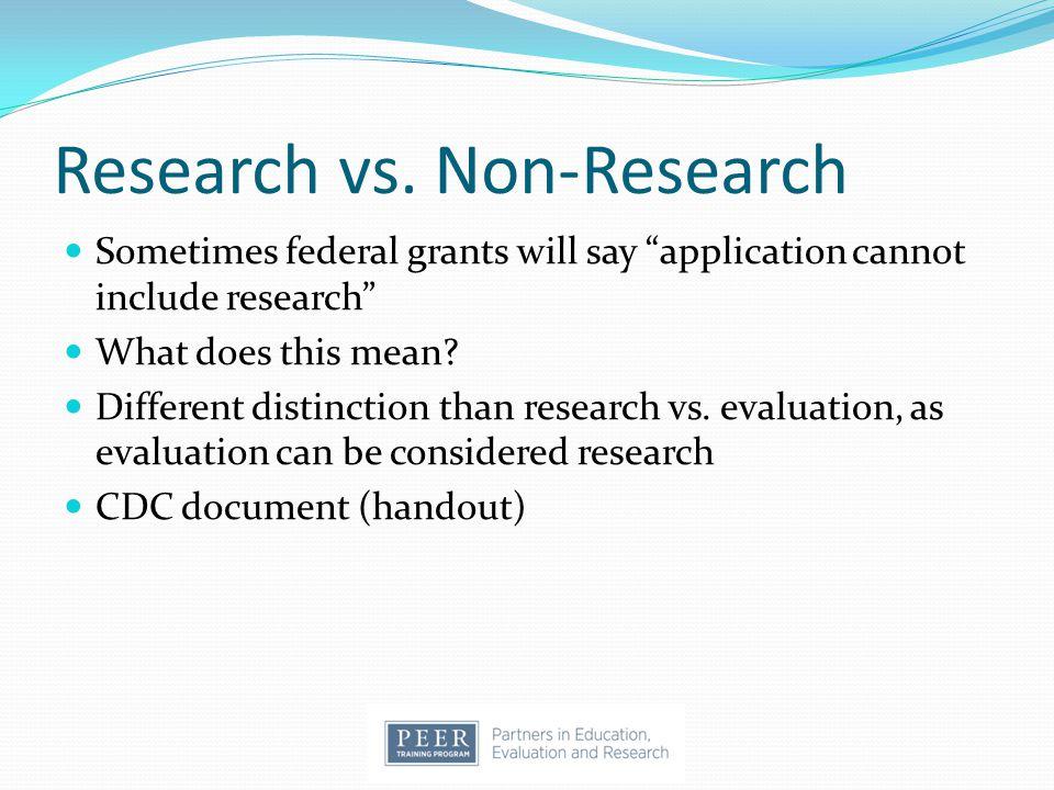 Research vs. Non-Research