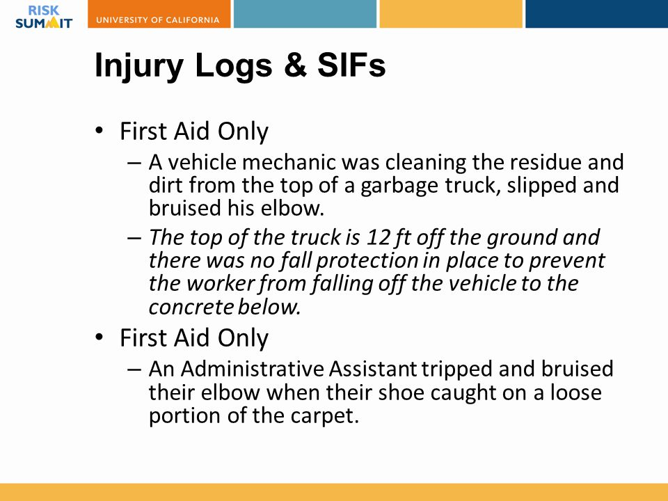 Injury Logs & SIFs First Aid Only