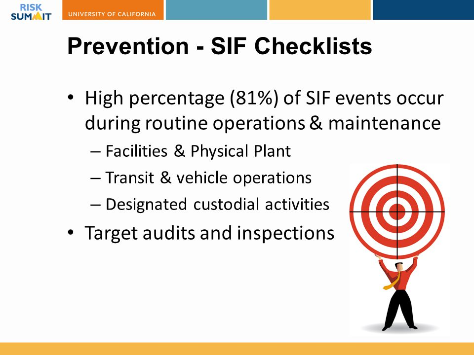 Prevention - SIF Checklists