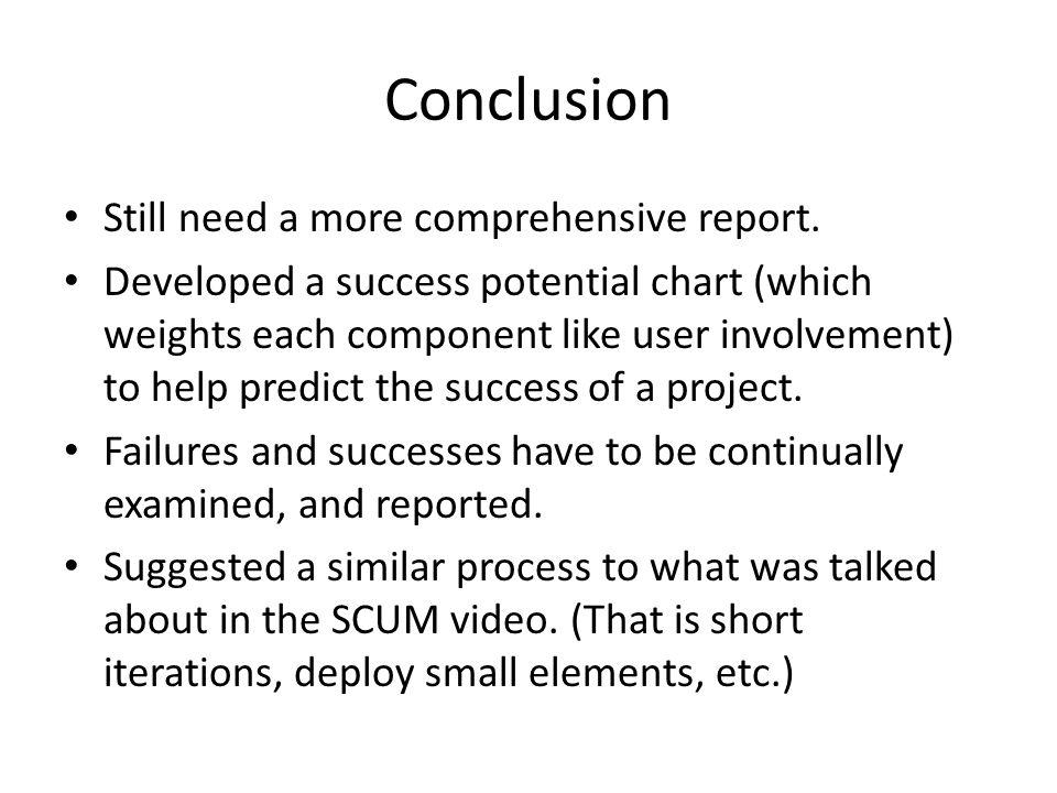 Conclusion Still need a more comprehensive report.