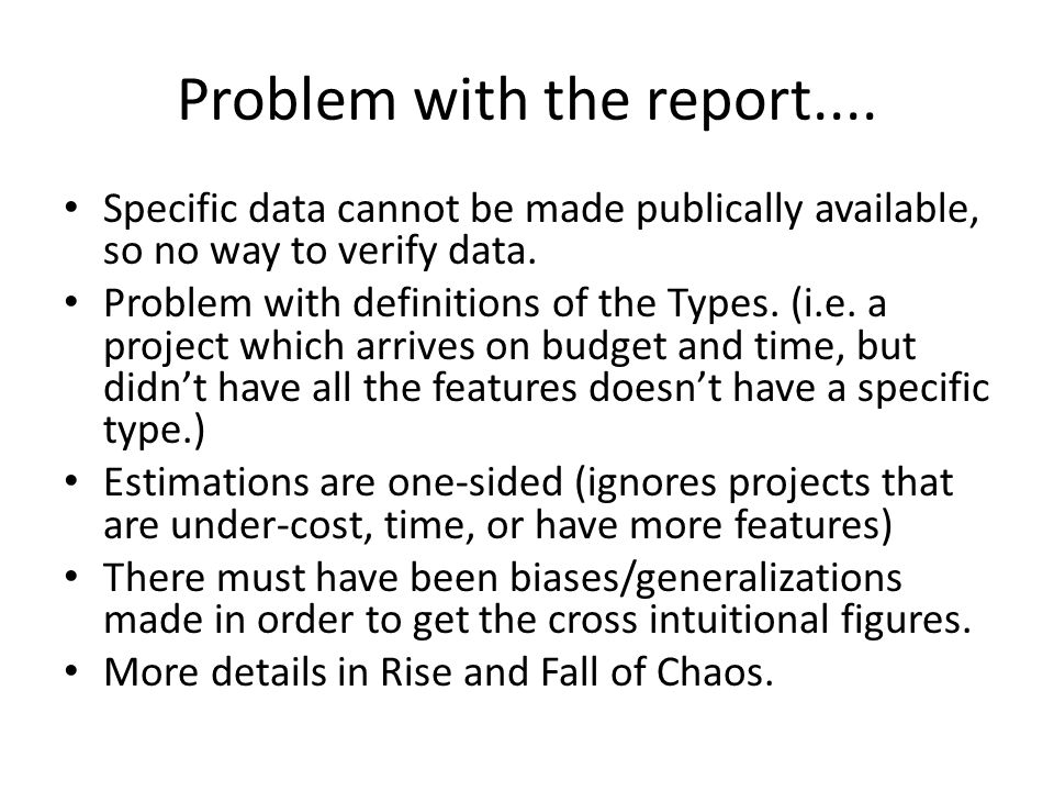 Problem with the report....