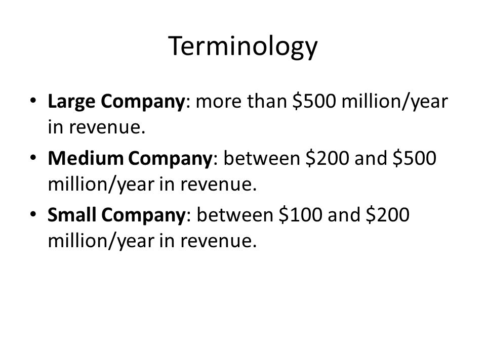 Terminology Large Company: more than $500 million/year in revenue.