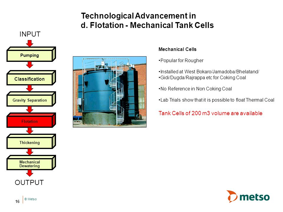 Technological Advancement in d. Flotation - Mechanical Tank Cells