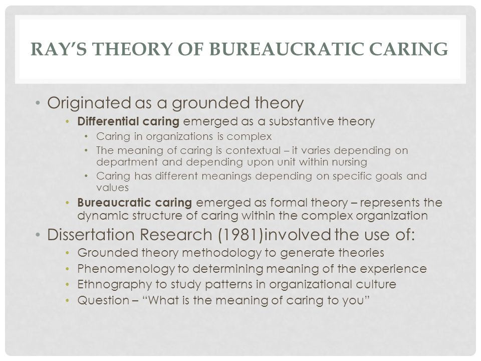 Ray's Theory of Bureaucratic caring