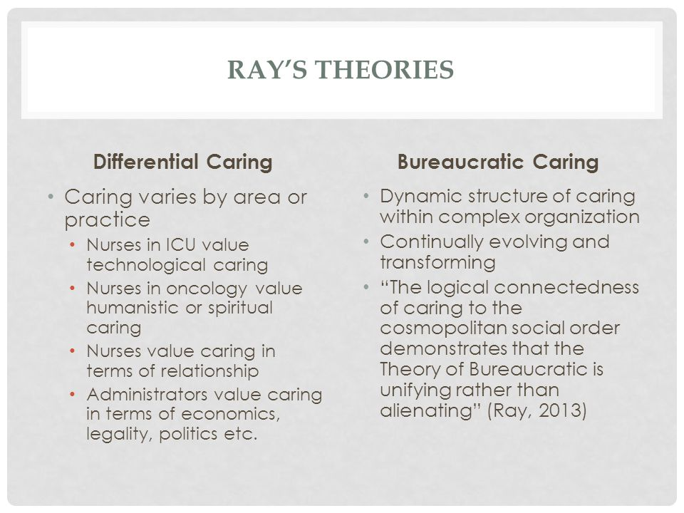 Ray's Theories Differential Caring Bureaucratic Caring