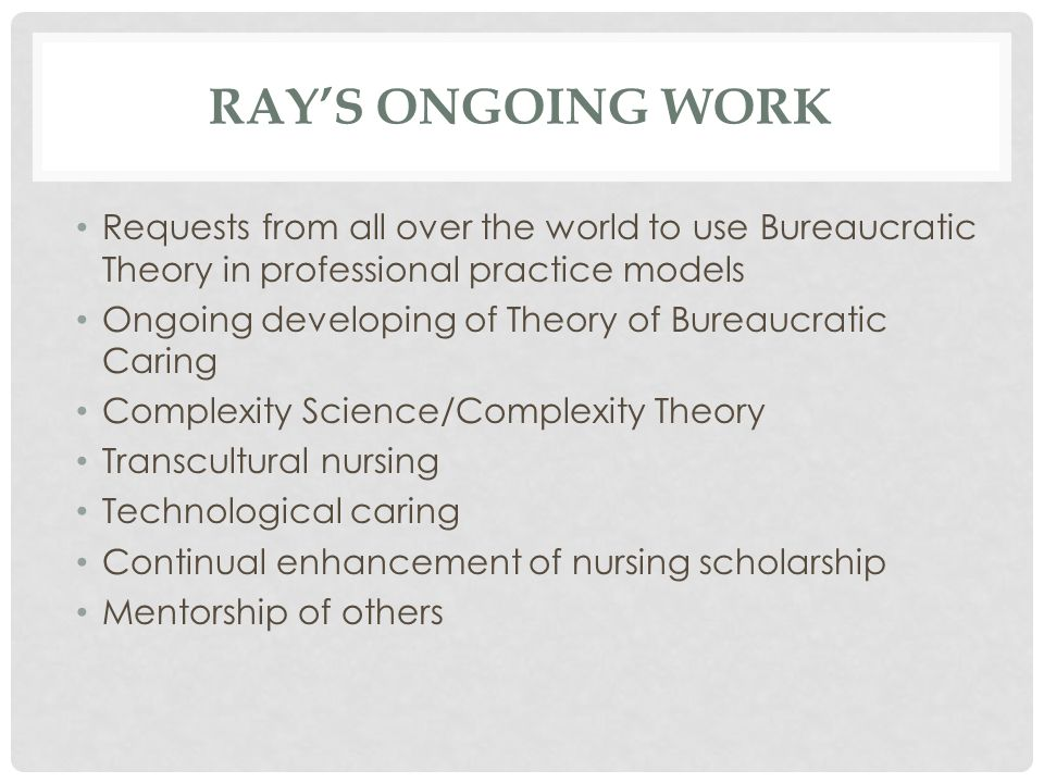 Ray's OnGoing Work Requests from all over the world to use Bureaucratic Theory in professional practice models.