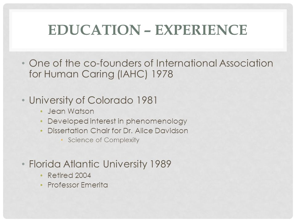 Education – experience