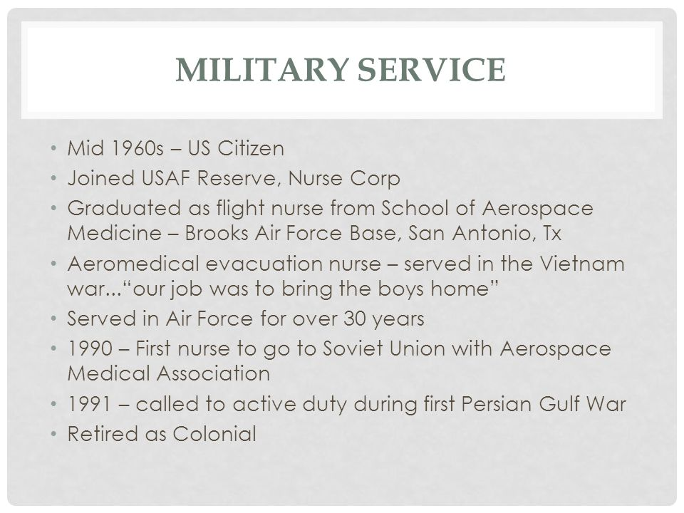 Military Service Mid 1960s – US Citizen