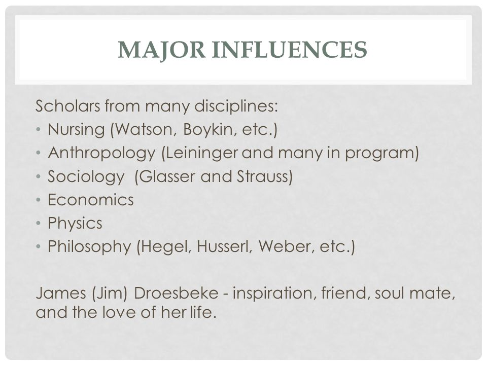 Major Influences Scholars from many disciplines: