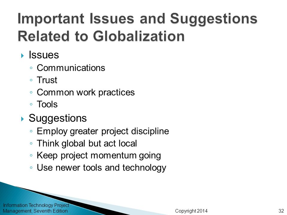 Important Issues and Suggestions Related to Globalization