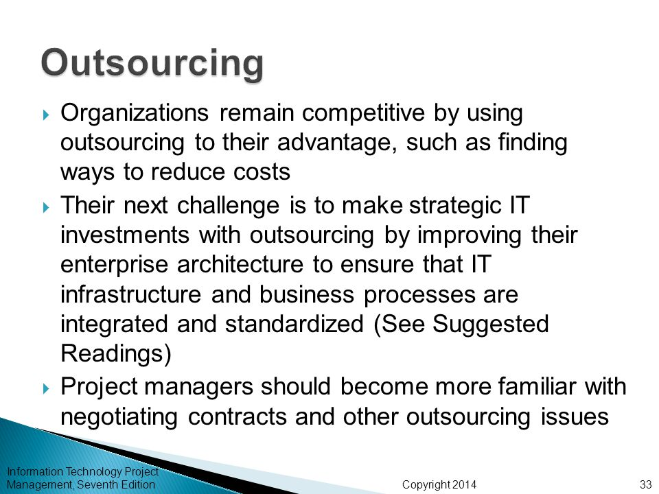Outsourcing Organizations remain competitive by using outsourcing to their advantage, such as finding ways to reduce costs.