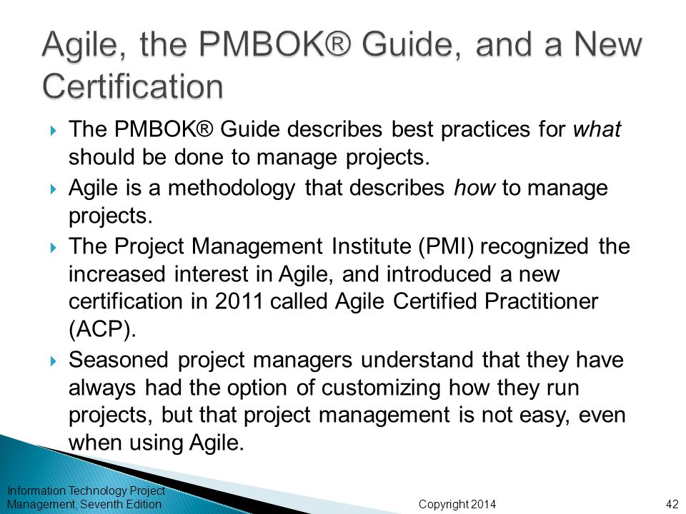 Agile, the PMBOK® Guide, and a New Certification
