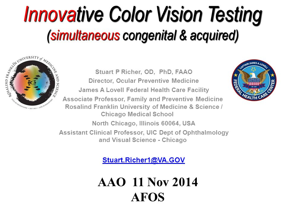 Innovative Color Vision Testing (simultaneous congenital & acquired)