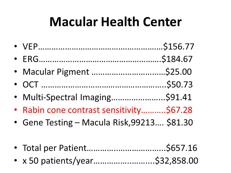 Macular Health Center VEP………………………………….………….…$156.77
