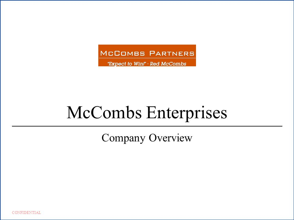 McCombs Enterprises Company Overview