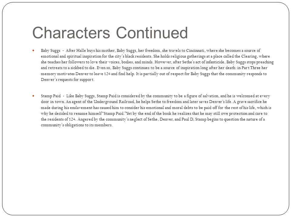Characters Continued