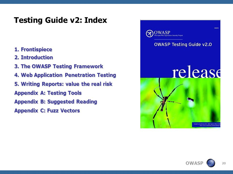 Testing Guide v2: Index 1. Frontispiece 2. Introduction