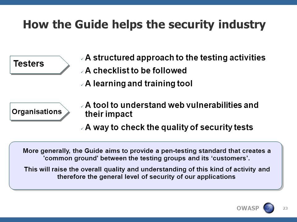 How the Guide helps the security industry