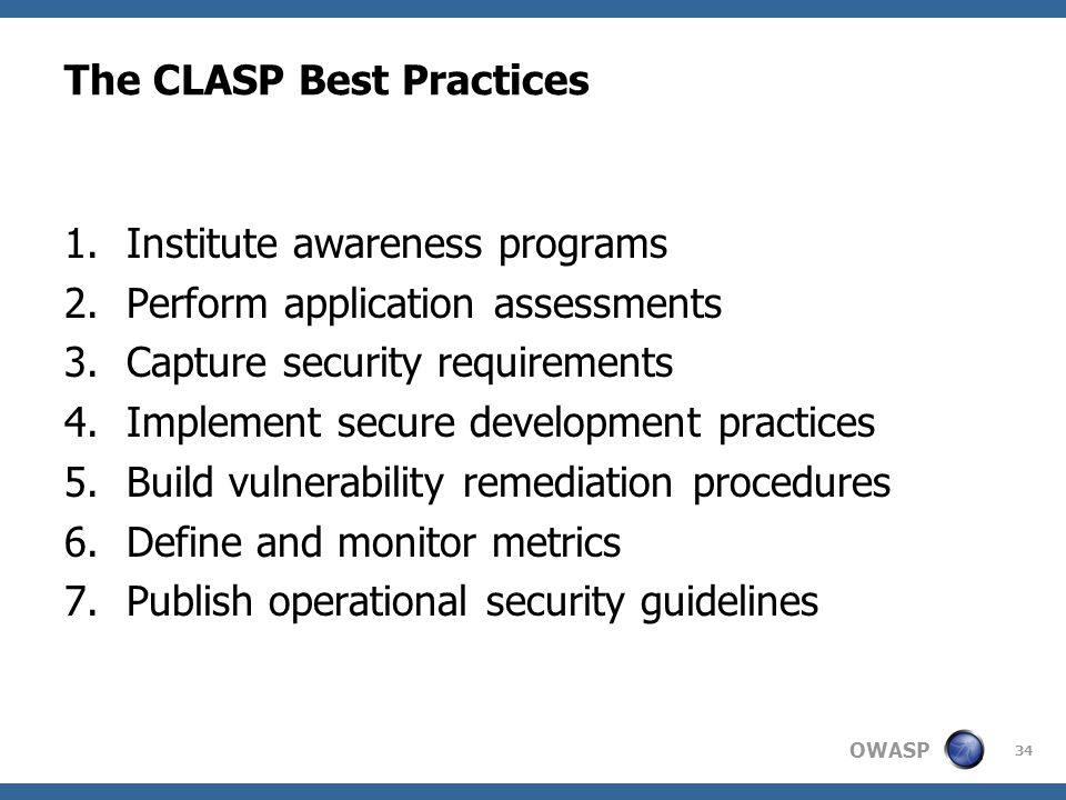 The CLASP Best Practices