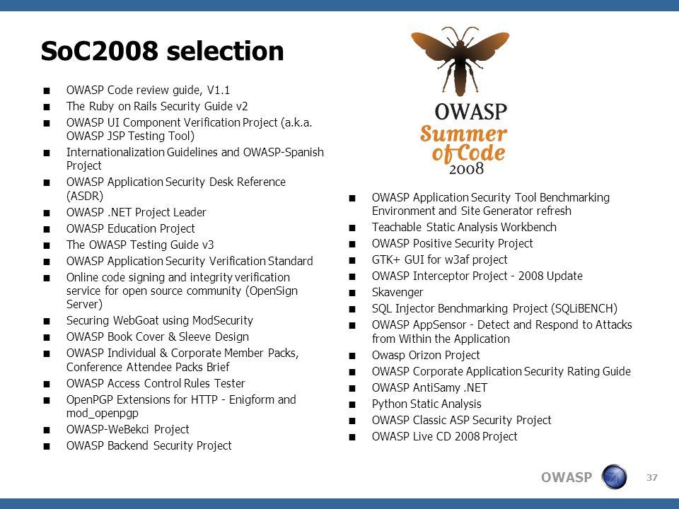 SoC2008 selection OWASP Code review guide, V1.1