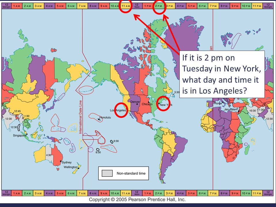 2 If it is 2 pm on Tuesday in New York, what day and time it is in Los Angeles