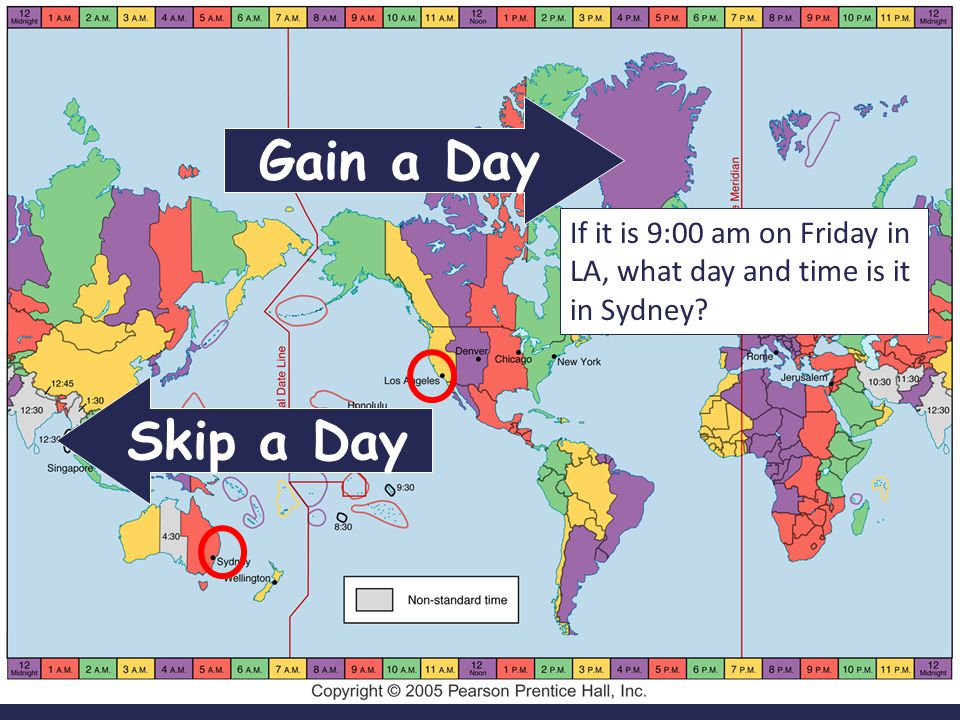 Gain a Day If it is 9:00 am on Friday in LA, what day and time is it in Sydney Skip a Day
