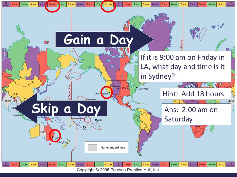 Gain a Day If it is 9:00 am on Friday in LA, what day and time is it in Sydney Hint: Add 18 hours.