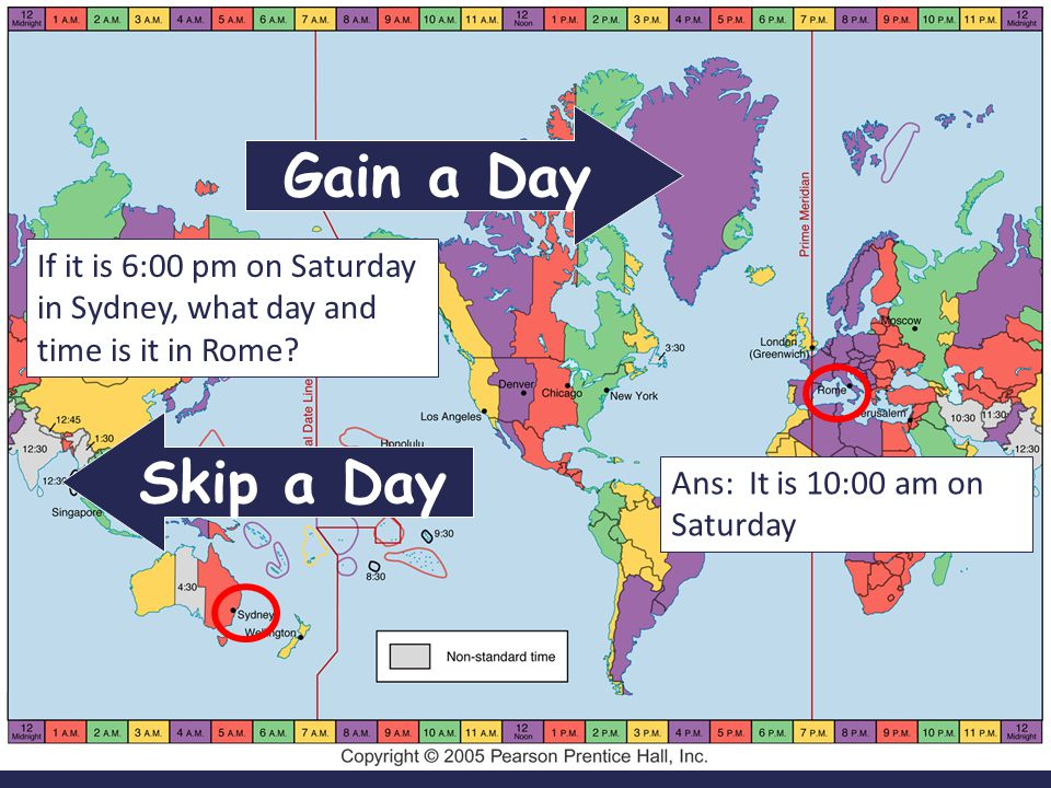 Gain a Day If it is 6:00 pm on Saturday in Sydney, what day and time is it in Rome.